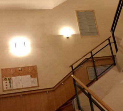 1Fの受付から登って行く階段。湯船は2F。あまりの閑散さに、やばい予感しかしない。 / 東京天然温泉 古代の湯