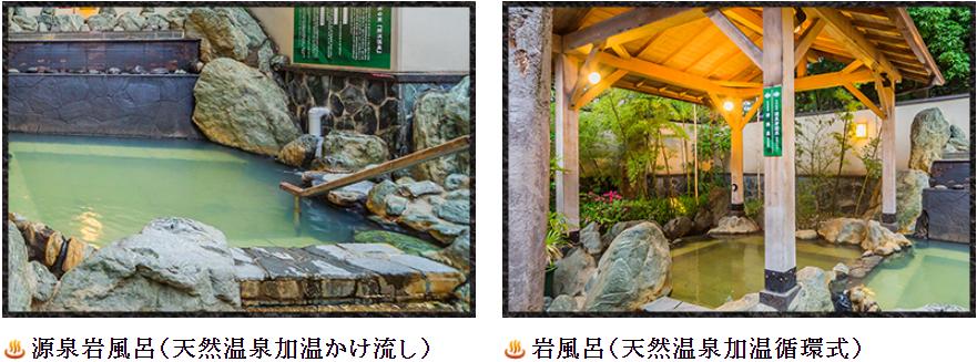 所沢温泉 湯楽の里_源泉岩風呂(左)、岩風呂(右)