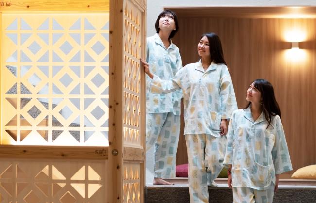 おふろcafe びわこ座に滋賀の伝統工芸品や琵琶湖をテーマにした館内着が登場:時事ドットコム