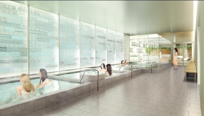 5階:日替わり湯や炭酸泉の内湯、寝転び湯など5種の内湯:サウナや岩盤浴等豊富な施設:炭酸泉、露天風呂に加え、サウナやロウリュサービス