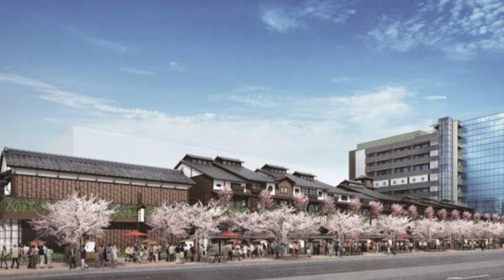左側が商業ゾーン、右側がホテル温泉ゾーンか(三井不動産リリース)
