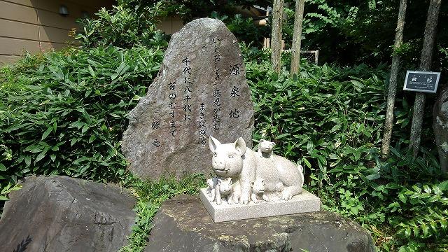 天然温泉花鳥風月_源泉と豚の石碑