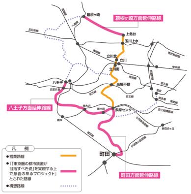 多摩都市モノレール延伸図